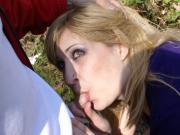 Boy takes green eye girlfriend into the woods for some great blowjob action